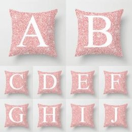 Valentine Pillows Gift Australia - 26 Letters Pillow Case sequin Cushion pillow Cover Pillowslip Bedding decor valentines gift Sofa Home car Decor 45*45cm FFA1579