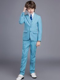 Formal vest boys online shopping - Fashion Boys Formal OccasionTuxedos Notch Lapel Two Button Kids Wedding Tuxedos Child Suit Holiday clothes Jacket Pants Tie Vest