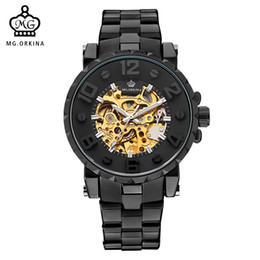 wrist watch brass UK - Mg. Orkina Men Wristwatch Golden Skeleton Clock Mechanical Male Wrist Watch Black Relogio Masculino Automatic Zegarek Meski J190701 J190702