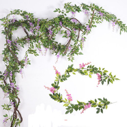 wisteria tree flowers 2019 - Artificial Plants flower vine Bean flowers tree vine decorative plant Wisteria flower rattan Artificial fake bunch AEC00