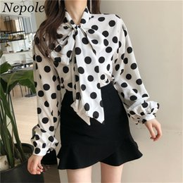 polka dot vintage shirt NZ - Neploe Polka Dot Vintage Blouse Big Bow Neck Women Blusa 2019 Sweet Girl Spring Autumn Casual Loose Fashion Female Shirt 69417 SH190803