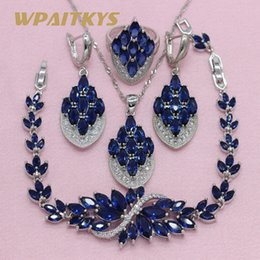 $enCountryForm.capitalKeyWord Australia - Royal Blue Multicolor Cubic Zirconia 925 Silver Jewelry Sets For Women Earrings Necklace Pendant Ring Bracelet Free Gift Boxs