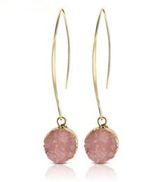 $enCountryForm.capitalKeyWord Australia - Fashion Resin Stone Earrings Druzy Drusy Earrings For Women Gold Plating Round Circle Shape Ear Best Jewelry Gifts YD0233