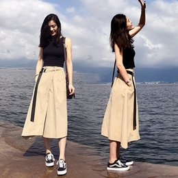 $enCountryForm.capitalKeyWord NZ - 2019 summer fashion slim T-shirt and slit lace-up skirt two-piece suit
