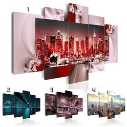 life size pictures Australia - Fashion Wall Art Canvas Painting 5 Pieces Colorful City High-rise Buildings Modern Home Decoration,Choose Color And Size No Frame