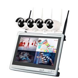 x vision camera Canada - 4 Channel 960P Wireless NVR Kit 12.5 inch LCD WiFi NVR 4 x 1.3MP WiFi IP Camera with Night Vision