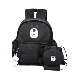 $enCountryForm.capitalKeyWord UK - Black Bear Printing Children Composite Shoulder School Bag Children Waterproof Canvas Backpack Girls Holiday Travel Bag Rucksack