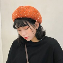 beret knitted NZ - Beret Women Cotton 2020 Knit Beret Women Winter Hat Female Wool Cotton Blend Cap Vintage Dot Winter Hat Berets Fashion Cap