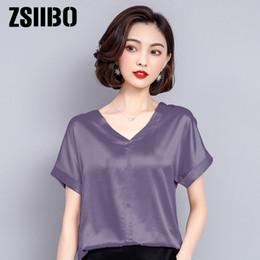 615eb3cb0c4b40 Korean elegant vintage women blouse 2019 summer V neck Silk short sleeves  work chiffon shirts plus Size Female office clothes