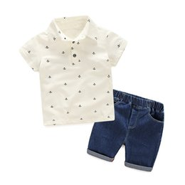 White Suits For Toddlers Australia - good quality Baby Boy Summer Clothes Set for Toddler Infant Turn-down Collar Short Sleeve Tshirt + Shorts Boy Suit 1 2 3 4 5 Years