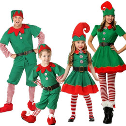 Wholesale hot santa costumes women for sale – halloween New Hot Women Men Boy Girl Christmas Santa Claus Costume Kids Adults Family Green Elf Cosplay Costumes Carnival Party Supplies