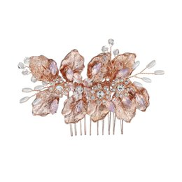 $enCountryForm.capitalKeyWord Australia - Rose Gold Color Wedding Hair Combs For Bride Crystal Rhinestones Women Hair Pins Bridal Headpiece Hair Jewelry Accessories