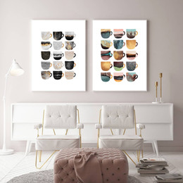 Coffee Cup Cafe online shopping - Nordic Coffee Cup Metallic Canvas Painting Cute Geometric Pear Posters Wall Art Pictures For Living Room Dining Room Cafe Decor
