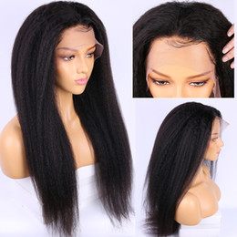 ItalIan yakI straIght lace wIg online shopping - 150 Density Full Lace Wig Kinky Straight Pre Plucked HD Transparent Lace Glueless Italian Yaki Lacefront Wigs Brazilian Remy Hair For Women