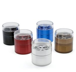 tobacco grinder aluminum Australia - Metal Tobacco Grinder 5 Layer Aluminum Alloy Transparent Cover Cigarette Crusher Creative Smoking Grinders Diameter 63mm