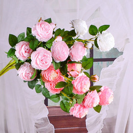 Wholesale Home Decor Beautiful Head Rose Peony Artificial Silk Flowers DIY Bouquet Party Spring Wedding Decoration Marriage Fake Flower DH0915 T03