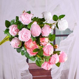 Discount beautiful bouquets - Home Decor Beautiful 2 Head Rose Peony Artificial Silk Flowers DIY Bouquet Party Spring Wedding Decoration Marriage Fake