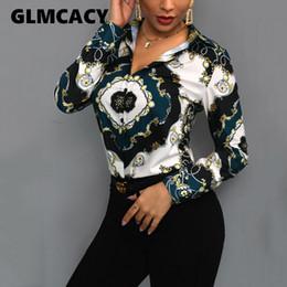 $enCountryForm.capitalKeyWord Australia - Women Elegant Office Lady Tops Blouses 2019 Spring Turn Down Collar Long Sleeve Chain Scarf Print Office Shirts Plus Size Blouse J190610