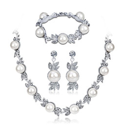 Pearl Bridal Jewellery Australia - Jewellery Sets for Women Artificial Pearl Necklace Vintage Bridal Pearl Necklace Earrings Jewelry Set Multilayer Imitation Pearl Necklace o