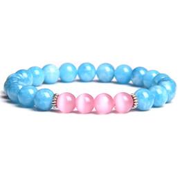 Cute korean braCelets online shopping - Ladies Women aquamarines cat eye beads bracelet cute simple trendy korean design girl women bracelets jewelry dropshipping gifts
