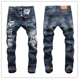 $enCountryForm.capitalKeyWord NZ - 19ss Top Quality Designer Brand D2 Men Jeans Embroidery Pants Fashion Holes Trousers Luxury Denim Italy Hot style men d2 jeans #5668