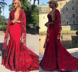 $enCountryForm.capitalKeyWord Australia - Vintage Burgundy Lace Evening Dresses Formal Gowns Mermaid High Neck Appliqued Beads Long Sleeves Prom Gowns Muslim Vestidos