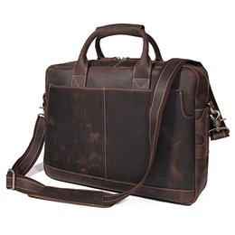 Wholesale Nesitu High Quality Vintage Brown Genuine Crazy Horse Leather Men Briefcase Portfolio Laptop Men Messenger Bag M7382