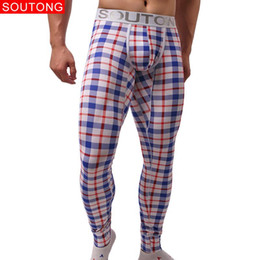 Wholesale thermal long johns for sale - Group buy Underwear Winter Warm Men Long Johns Cotton Plaid Printed Long Johns Men Thermal Underwear Men Thermal pants