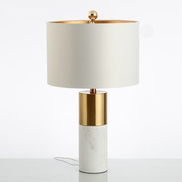 Desk Lamp Silver Australia - Nordic Desk Lamp Post-Modern Jazz White Marble Luxury Simple Copper-Plated Model Room Bedroom Bedside Design Table Lamp