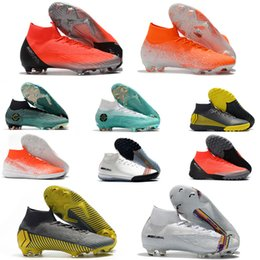 Discount kids indoor shoes - Rainbow Football Boots Mercurial Superfly VI 360 LVL UP Elite FG CR7 Ronaldo Youth Mens Kids high Ankle Indoor Soccer Cl