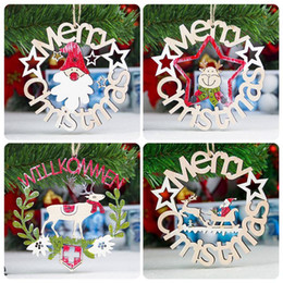 $enCountryForm.capitalKeyWord Australia - New Christmas Ornaments Wooden Christmas Wreath Ring Pendant Decorations for Home Personalize Gifts