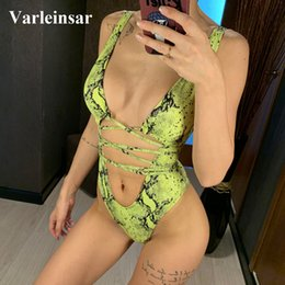 $enCountryForm.capitalKeyWord Australia - 2019 Deep V Neck Wrap Around Green Print One Piece Swimsuit Women Swimwear Female Bather Bathing Suit Swim Lady Monokini V1037g Y19072601