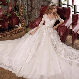 Hot v necks online shopping - 2019 Sexy V Neck Elegant Backless with Bow Princess Wedding Dresses Gorgeous Vestido De Noiva Half Sleeves Hot Sale Bridal Dress