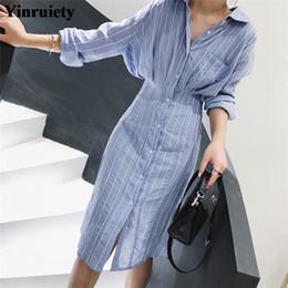Striped Slim korean dreSS online shopping - Autumn Women Dress Korean Style Slim Waist Striped Shirt Dress Long Sleeve Knee Length Ladies Elegant Midi Vestidos Jurken