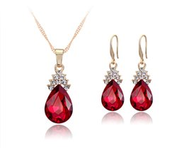wholesale blue diamond jewelry sets NZ - 3 colors Red Blue white Crystal Diamond Water Drop Necklace Earrings Sets Gold Chain Necklace for Women Fashion Wedding Jewelry