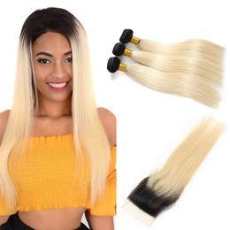 $enCountryForm.capitalKeyWord Australia - Peruvian Human Virgin Hair Straight 1B 613 Color Blonde 3 Bundles Wefts With 4x4 Lace Closure Products Extensions Brazialin Longjiahair gaga