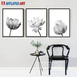 lotus painting art Australia - Black White Lotus Nordic Poster Wall Art Canvas Painting Posters And Prints Wall Pictures For Living Room Bedroom Decor