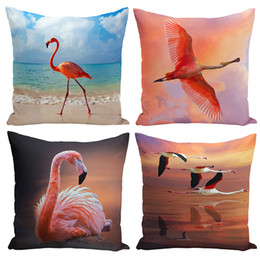 Weave Oil Australia - Watercolor Art Oil Painting Flamingo Bird Decorative Pillows Cushion Cover Cover Set Living Room Home Decoration Accessories