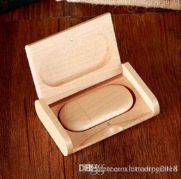 wooden usb flash 8gb UK - Over 30pcs Free Customized Wooden Box USB 2.0 Flash Drive 16GB 8GB Memory Stick