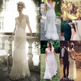 a645cfb9148 Vintage lihi hod Wedding Dresses Sheer Deep V Neck Backless Bohemia Lace  Applique 2018 Wedding Gowns Chiffon Court Train Long Bridal Dress