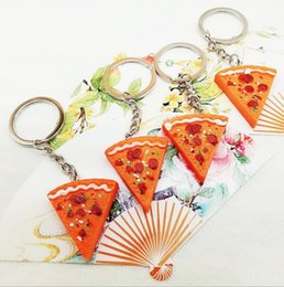 Wholesale Trendy Cut Pizza Keychain Colorful Food Beef Salad Dressing Pan Combination Best Friend BBF Unisex Gifts Metal Key Chain Jewelry