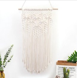 Wholesale Cotton rope tapestry Hand knitted Butterfly Flowers Wall style Residence Indoor and Outdoor Wall Hanging Bohemian cotton rope tapestry