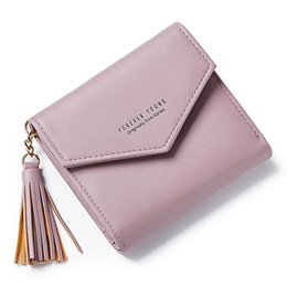 Fashion Wallet Ladies NZ - good quality Tassel Pendant Ladies Wallet Brand Designer Trifold Card Holder Women Wallets Fashion Envelope Style Female Small Purses