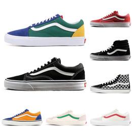 1bbf0c09 Original FEAR OF GOD Vans old skool sk8 hi men mujeres zapatillas de lona  negro blanco YACHT CLUB 36 DX moda skate casual shoes