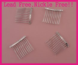 Led comb online shopping - 20PCS silver finish teeth plain Metal Hair Combs at lead free nickle free wedding bridal hair accessories side comb DIY Crown material