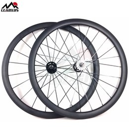 Bicycling Gear Australia - LEADXUS Full Carbon Fiber 38MM Clincher Tubular Roue Velo Fixed Bicycle Wheel Fixed Gear 700C Carbon Track Bike Wheels