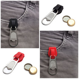 Keys Kitchen online shopping - Novelty Zipper Bottle Beer Openers Pure Color Adult Key chains Stainless Steel Bardian Wine Opener Kitchen Tools lan E1