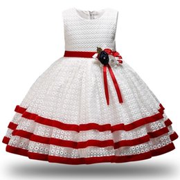 China Children Princess Party Kids Dresses For Girls Cake Tutu Lace Flower Girls 1-8 Yrs Baby Girls Clothes Kids Wedding Party Dress Y190515 cheap girls flower cake dress suppliers