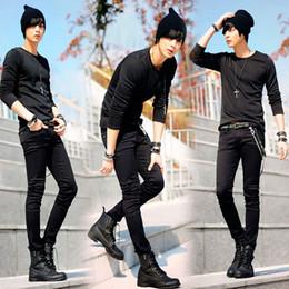 $enCountryForm.capitalKeyWord Australia - Fashion-Hot Selling Mens Korean Designer Black Slim Fit Jeans Punk Cool Super Skinny Pants With Chain For Male