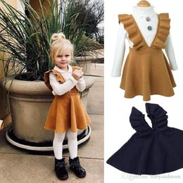 $enCountryForm.capitalKeyWord Australia - Factory Price 2 Colors Girls Sweater Dress Kids Clothing Fall Autumn Winter Dress Fashion Sleeveless Princess Suspender skirt Dress